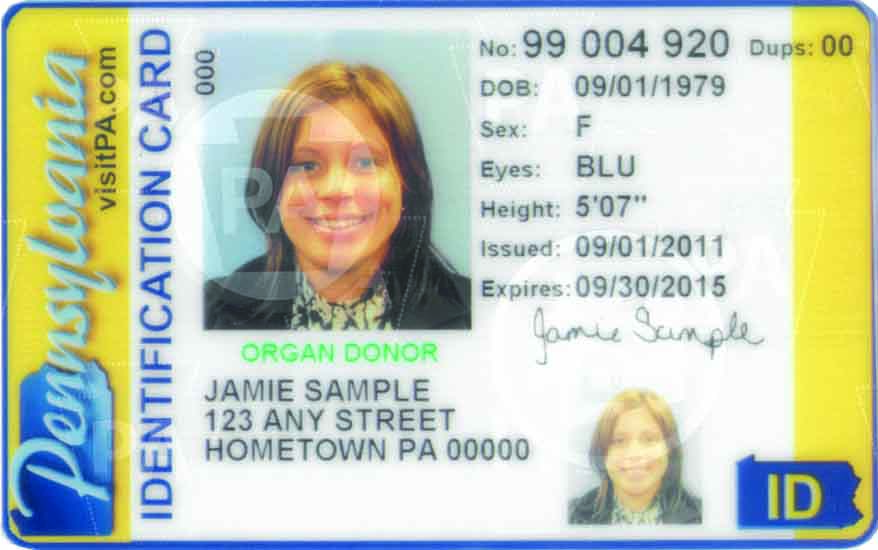 PA Non-Driver Identification Card